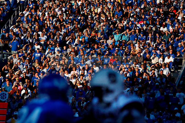 Fans cheer at the start of the first half of UK's 31-28 win over  South Carolina football on Saturday, Oct. 16, 2010. Photo by Britney McIntosh | Staff