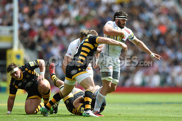 Don Armand of Exeter Chiefs takes on the Wasps defence. Aviva Premiership Final, between Wasps and Exeter Chiefs on May 27, 2017 at Twickenham Stadium in London, England. Photo by: Patrick Khachfe / JMP