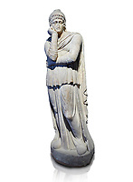Roman statue of Arris, 3rd century AD from Hierapolis. Hierapolis Archaeology Museum, Turkey. Against an white background