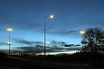STREET LIGHTS  ALONG MEMORIAL DRIVE NEAR THE ZOO OVERPASS AND FOURTH STREE BRIDGE, CALGARY, ALBERTA