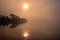 Fog on Lake Superior at sunrise<br />