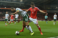Ireland's David Meyler shields the ball from Wales? Ben Davies<br /> <br /> Photographer Ian Cook/CameraSport<br /> <br /> FIFA World Cup Qualifying - European Region - Group D - Wales v Republic of Ireland - Monday 9th October 2017 - Cardiff City Stadium - Cardiff<br /> <br /> World Copyright &copy; 2017 CameraSport. All rights reserved. 43 Linden Ave. Countesthorpe. Leicester. England. LE8 5PG - Tel: +44 (0) 116 277 4147 - admin@camerasport.com - www.camerasport.com