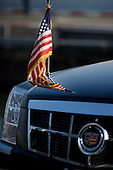 The American flag reflected in United States President Barack Obama's car before his arrival in Manhattan on Marine One in New York City, New York on Wednesday, September 22, 2010..Credit: Emily Anne Epstein - Pool via CNP