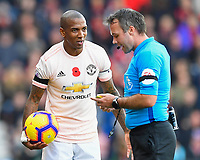 Ashley Young of Manchester United gets a yellow card from Referee Paul Tierney during AFC Bournemouth vs Manchester United, Premier League Football at the Vitality Stadium on 3rd November 2018