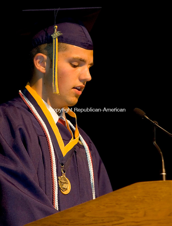 WATERBURY, CT --JUNE 16, 2008-061608JS08-Kennedy High School Valedictorian Joseph DaSilva gives his address during Monday's commencement exercises at Kennedy High School in Waterbury. <br /> Jim Shannon/Republican-American