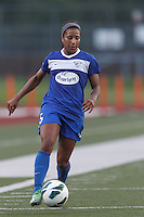 Boston Breakers midfielder Jazmyne Avant(5) dribbles down the wing. In a National Women's Soccer League (NWSL) match, Boston Breakers (blue) defeated Sky Blue FC (white), 3-2, at Dilboy Stadium on June 30, 2013.
