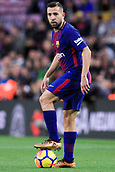 7th January 2018, Camp Nou, Barcelona, Spain; La Liga football, Barcelona versus Levante; Jordi Alba of FC Barcelona stands on the ball waiting for the whistle