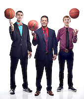 NWA Democrat-Gazette/BEN GOFF -- 03/18/15 All-NWADG boys basketball selections for schools class 5A and below: Player of the Year Caleb Kirk (from left) of Huntsville, Coach of the Year Trent Loyd of Pea Ridge and Newcomer of the Year Joey Hall of Pea Ridge.