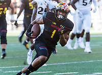 College Park, MD - SEPT 23, 2017: Maryland Terrapins wide receiver D.J. Moore (1) scores the Terps loan touchdown on the day during game between Maryland and UCF at Capital One Field at Maryland Stadium in College Park, MD. (Photo by Phil Peters/Media Images International)