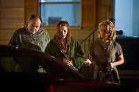 "James Gandolfini, Kristen Stewart and Melissa Leo in Sony Pictures' ""Welcome To The Rileys."""