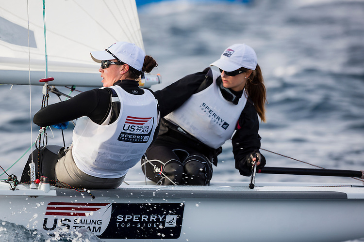 20140401, Palma de Mallorca, Spain: SOFIA TROPHY 2014 - 850 sailors from 50 countries compete at the ISAF Sailing World Cup event. 470 Women - USA1712 - Anne Haeger / Briana Provancha. Photo: Mick Anderson/SAILINGPIX.