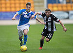 St Johnstone v Dunfermline&hellip;23.08.16   SPFL Development League<br />Cammy Lumsden fends off Paul McMullan<br />Picture by Graeme Hart.<br />Copyright Perthshire Picture Agency<br />Tel: 01738 623350  Mobile: 07990 594431