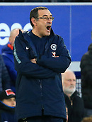 17th March 2019, Goodison Park, Liverpool, England; EPL Premier League Football, Everton versus Chelsea; Chelsea manager Maurizio Sarri reacts as he looks on from the touchline