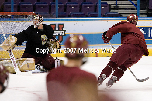 Joe Pearce (Boston College - Brick, NJ) and Mike Brennan (Boston College - Smithtown, NY) take part in the Boston College Eagles' practice on Friday, April 6, 2007, at the Scottrade Center in St. Louis, Missouri in preparation for the 2007 Frozen Four Final on April 7.