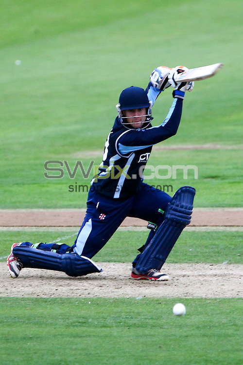 PICTURE BY ALEX WHITEHEAD/SWPIX.COM - Cricket - Clydesdale Bank 40 - Yorkshire v Warwickshire - North Marine Road Ground, Scarborough, England - 27/08/12 - Yorkshire's Dan Hodgson hits out.