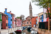 Italy, Burano. Burano is an island in the Venetian Lagoon. Leaning campanile.