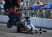 Sept. 29, 2012; Madison, IL, USA: NHRA top fuel dragster driver Khalid Albalooshi during qualifying for the Midwest Nationals at Gateway Motorsports Park. Mandatory Credit: Mark J. Rebilas-
