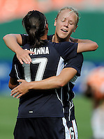 Washington Freedom forward  Lisa De Vanna (17) celebrates her goal with teammate Lori Lindsey (6).  Washington Freedom defeated Skyblue FC 2-1 at RFK Stadium, Saturday May 23, 2009.