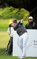 Andy Zhang (China) tees off at the 12th on day one of the 2017 Asia-Pacific Amateur Championship day one at Royal Wellington Golf Club in Wellington, New Zealand on Thursday, 26 October 2017. Photo: Dave Lintott / lintottphoto.co.nz