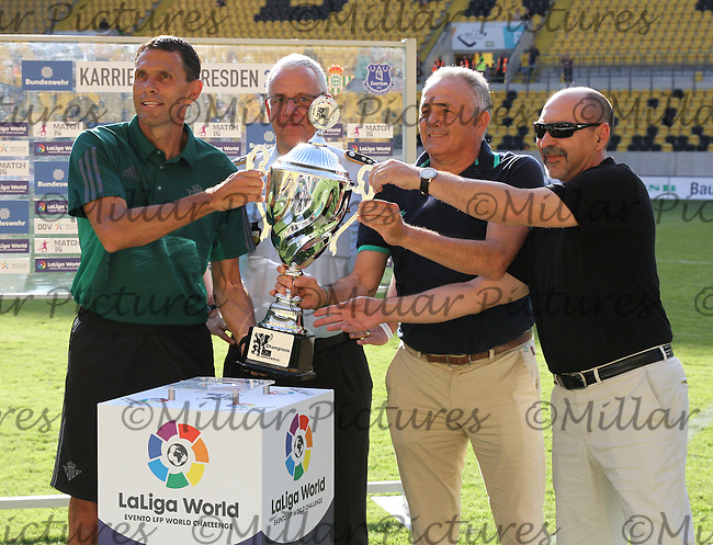 Real Betis Coach Gustavo Poyet being presented with the Bundeswehr Karriere Cup Dresden 2016 having won the tournament played at the DDV Stadion, Dresden on 29.7.16 and 30.7.16.
