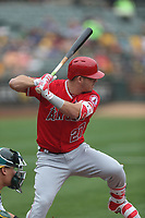 OAKLAND, CA - SEPTEMBER 4:  Mike Trout #27 of the Los Angeles Angels of Anaheim bats against the Oakland Athletics during the game at the Oakland Coliseum on Monday, September 4, 2017 in Oakland, California. (Photo by Brad Mangin)