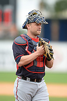 Atlanta Braves catcher Steven Lerud (83) during a spring training game against the Detroit Tigers on February 27, 2014 at Joker Marchant Stadium in Lakeland, Florida.  Detroit defeated Atlanta 5-2.  (Mike Janes/Four Seam Images)