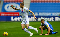 Leeds United's Stuart Dallas gets past Wigan Athletic's Dan Burn<br /> <br /> Photographer Alex Dodd/CameraSport<br /> <br /> The EFL Sky Bet Championship - Wigan Athletic v Leeds United - Sunday 4th November 2018 - DW Stadium - Wigan<br /> <br /> World Copyright &copy; 2018 CameraSport. All rights reserved. 43 Linden Ave. Countesthorpe. Leicester. England. LE8 5PG - Tel: +44 (0) 116 277 4147 - admin@camerasport.com - www.camerasport.com