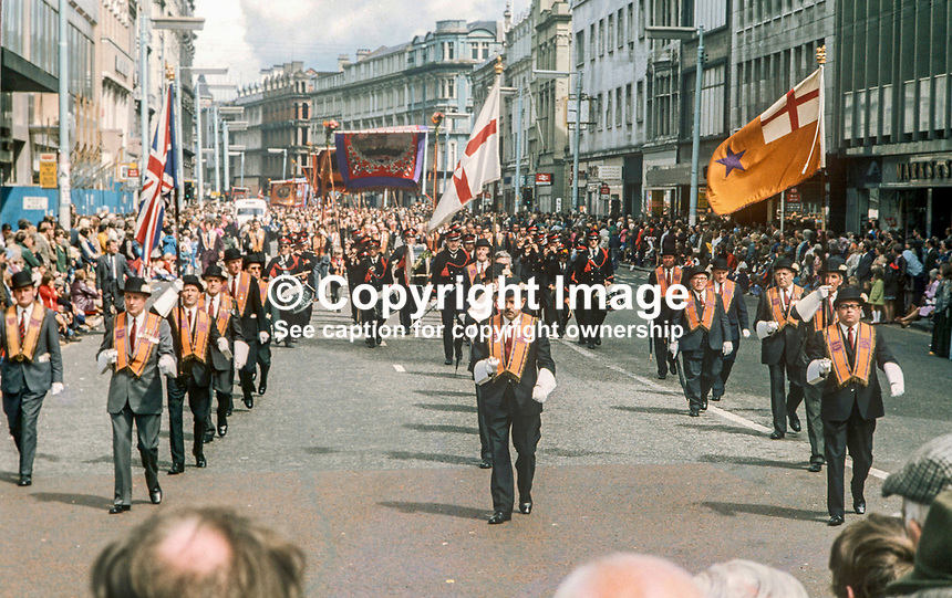 Orangemen taking part in their annual Twelfth parade marching along Royal Avenue, Belfast, 12th July 1974. 197407120388h<br />