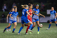 Boston, MA - Sunday September 10, 2017: Megan Oyster, Nadia Nadim and Margaret Purce during a regular season National Women's Soccer League (NWSL) match between the Boston Breakers and Portland Thorns FC at Jordan Field.