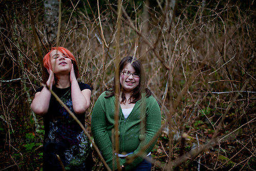 Allison Ferry and Samantha Wartchow on the Washington forest where they became briefly lost in 2010; the girls were located by a search-and-rescue dog.