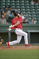 Center fielder Cole Brannen (10) of the Greenville Drive, playing as the Energia in MiLB's Copa de la Diversion, bats in a game against the Augusta GreenJackets at Fluor Field at the West End in Greenville, South Carolina. Augusta won, 9-8. (Tom Priddy/Four Seam Images)