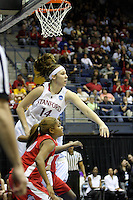 BERKELEY, CA - MARCH 30: Kayla Pedersen taps out a rebound during Stanford's 84-66 win against the Ohio State Buckeyes on March 28, 2009 at Haas Pavilion in Berkeley, California.