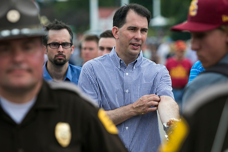 UNITED STATES - August 17: Governor of Wisconsin and Republican presidential candidate Scott Walker, walks down the midway at the Iowa State Fair in Des Moines, Iowa, Monday, August 17, 2015. (Photo By Al Drago/CQ Roll Call)
