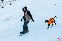Recent snowfall has enticed some locals to clip on their ski's and boards, or booties and taboggans, and head up to play in the snow at Coronet Peak Ski Area in Queenstown, New Zealand.  The official opening day is set for June 26, and there will be plenty more of this pre-season activity before the lifts open! Copyright Photo: Libby Law Photography