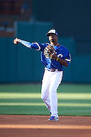 Oklahoma City Dodgers second baseman Darnell Sweeney (9) warmup throw during a game against the Fresno Grizzles on June 1, 2015 at Chickasaw Bricktown Ballpark in Oklahoma City, Oklahoma.  Fresno defeated Oklahoma City 14-1.  (Mike Janes/Four Seam Images)