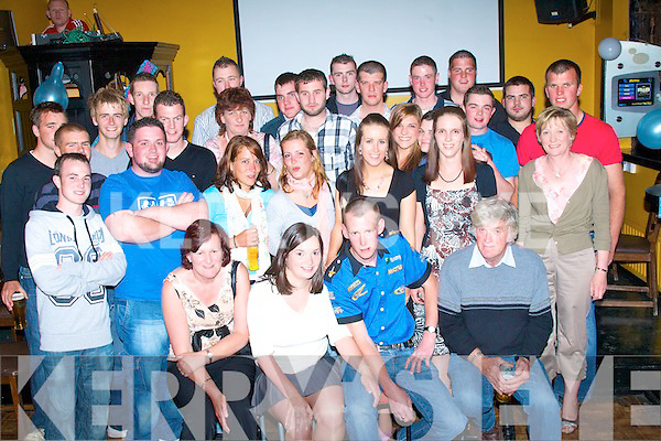 2265-2270.---------.Key to the Door.---------------.Maurice O'Connor(seated front)from Aughacasla,Castlegregory,celebrated his 21st birthday last Saturday night in Fitzgeralds Pub Castlegregory with his parents Kathrine&JohnJames,sister Siobhan,girlfriend Samantha Spillane and many family and friends.