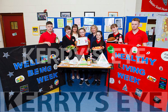 Students and staff from Mean Scoil Nua an Leith Triuigh in Castlegregory learned all about wellbeing during their Healthy Living Fortnight. Pictured were: Tadhg O'Connor, Emma Lynch, Zoe Moriarty, Bronagh O'Connor, Ellie O'Mahony, Fionn Ó Cuileannáin, with teachers Sally Ann Leahy and Gemma Donovan.