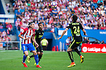 Atletico de Madrid's player Filipe Luis and Sporting de Gijon's Douglas and Duje Cop during a match of La Liga Santander at Vicente Calderon Stadium in Madrid. September 17, Spain. 2016. (ALTERPHOTOS/BorjaB.Hojas)