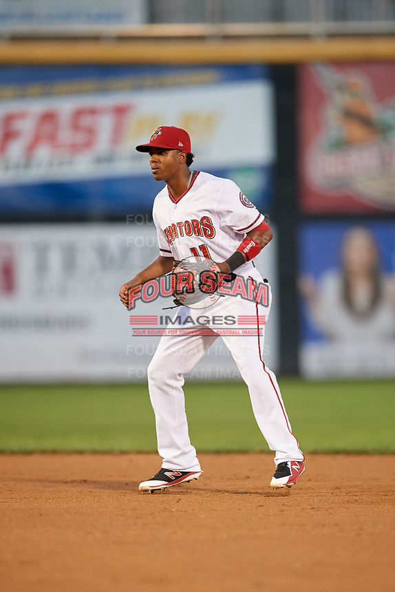 Harrisburg Senators second baseman Osvaldo Abreu (11) during a game against the Erie SeaWolves on August 29, 2018 at FNB Field in Harrisburg, Pennsylvania.  Harrisburg defeated Erie 5-4.  (Mike Janes/Four Seam Images)
