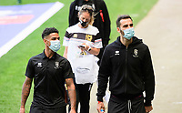 Lincoln City's Liam Bridcutt, left, and Adam Jackson arrive at the ground<br /> <br /> Photographer Chris Vaughan/CameraSport<br /> <br /> The EFL Sky Bet League One - Milton Keynes Dons v Lincoln City - Saturday 19th September 2020 - Stadium MK - Milton Keynes<br /> <br /> World Copyright © 2020 CameraSport. All rights reserved. 43 Linden Ave. Countesthorpe. Leicester. England. LE8 5PG - Tel: +44 (0) 116 277 4147 - admin@camerasport.com - www.camerasport.com