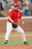 Relief pitcher Kevin Kilpatrick #44 of the St. John's Red Storm in action against the Virginia Cavaliers at the Charlottesville Regional of the 2010 College World Series at Davenport Field on June 6, 2010, in Charlottesville, Virginia.  The Red Storm defeated the Cavaliers 6-5.   Photo by Brian Westerholt / Four Seam Images