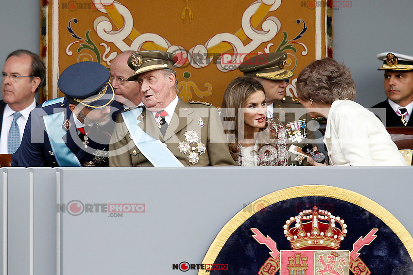 Prince Fellipe of Spain, Juan Carlos I King of Spain, Princess Letizia of Spain and Sofia Queen of Spain attend the National Day Military Parad.October 12,2012.(ALTERPHOTOS/Acero) /NortePhotoAgency