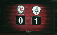 The final score on the board during the FIFA World Cup Qualifier Group D match between Wales and Republic of Ireland at The Cardiff City Stadium, Wales, UK. Monday 09 October 2017
