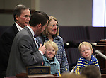 Nevada Assemblyman David Bobzien, D-Reno, introduces his parents David Sr. and Cathy Bobzien and his sons Luca and Finnegan during the floor session at the Legislative Building in Carson City, Nev., on Monday, March 11, 2013..Photo by Cathleen Allison