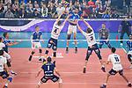 24.02.2019, SAP Arena, Mannheim<br /> Volleyball, DVV-Pokal Finale, VfB Friedrichshafen vs. SVG LŸneburg / Lueneburg<br /> <br /> Angriff Jakob GŸnthšr / Guenthoer (#12 Friedrichshafen) - Block / Doppelblock Noah Baxpšhler / Baxpoehler (#4 Lueneburg), Adam Schriemer (#3 Lueneburg)<br /> <br />   Foto © nordphoto / Kurth