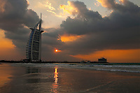 United Arab Emirates, Dubai: The Burj Al Arab hotel at sunset