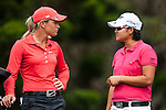 TAOYUAN, TAIWAN - OCTOBER 28:  Suzann Pettersen of Norway and Yani Tseng of Taiwan talk on the 2nd hole during the day four of the Sunrise LPGA Taiwan Championship at the Sunrise Golf Course on October 28, 2012 in Taoyuan, Taiwan.  Photo by Victor Fraile / The Power of Sport Images