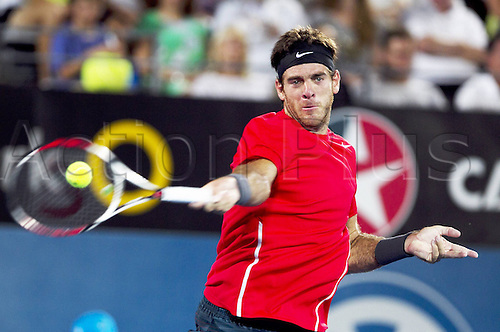 11.01.2014. Sydney Australia, Juan Martin Del Potro of Argentina returns the ball during the mens singles final match against Bernard Tomic of Australia at the Apia Sydney International tennis tournament, in Sydney, Australia, January 11, 2014. Juan Martin Del Potro claimed the title 2-0.
