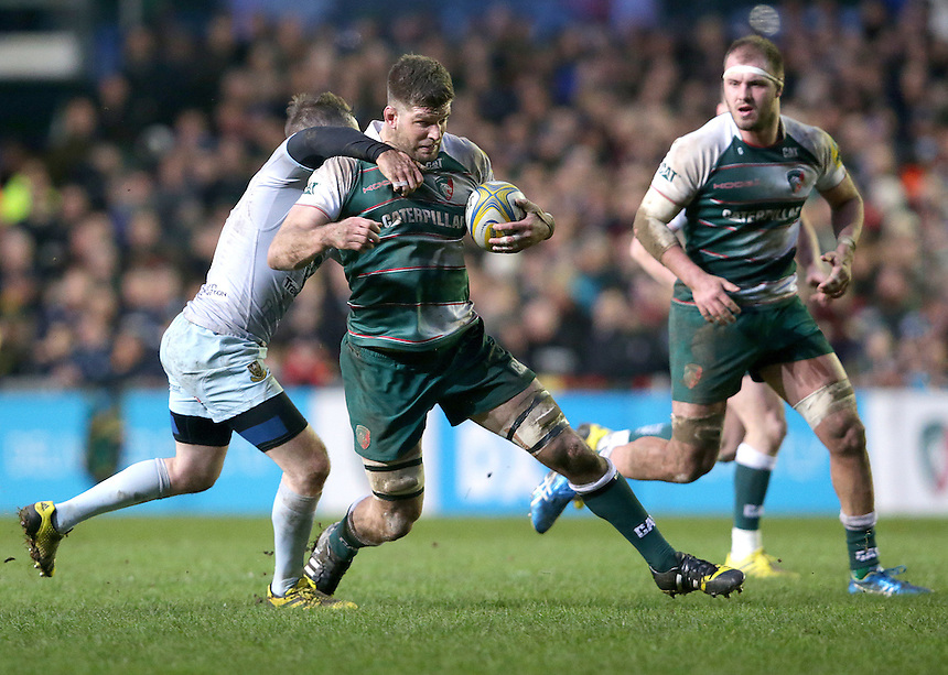 Leicester Tigers' Mike Fitzgerald in action during todays match<br /> <br /> Photographer Rachel Holborn/CameraSport<br /> <br /> Rugby Union - Aviva Premiership Round 9 - Leicester Tigers v Northampton Saints - Saturday 9th January 2016 - Welford Road - Leicester<br /> <br /> &copy; CameraSport - 43 Linden Ave. Countesthorpe. Leicester. England. LE8 5PG - Tel: +44 (0) 116 277 4147 - admin@camerasport.com - www.camerasport.com