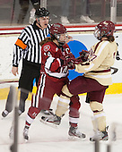 Bryan Hicks, Jillian Dempsey (Harvard - 14), bc7[ - The Boston College Eagles defeated the visiting Harvard University Crimson 3-1 in their NCAA quarterfinal matchup on Saturday, March 16, 2013, at Kelley Rink in Conte Forum in Chestnut Hill, Massachusetts.